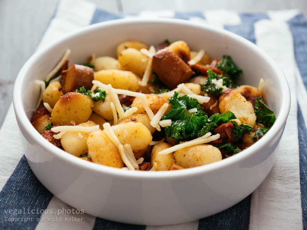Stock photo of Gnocchi with Vegan Sausage, Kale and Sun-dried Tomatoes