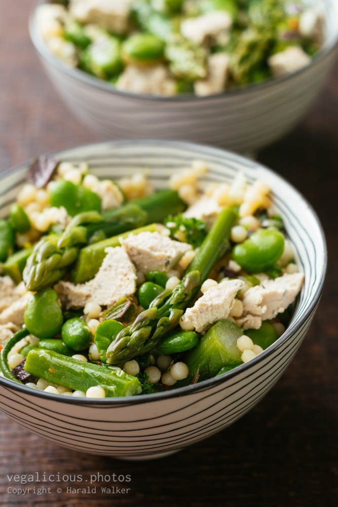 Stock photo of Asparagus, Fava Bean Salad with Mint and Vegan Feta