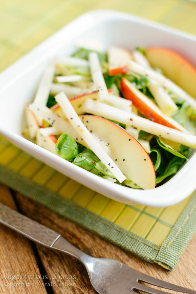 Stock photo of Field Salad, Kohlrabi and Apple Salad with Minty Poppy Seed Dressing