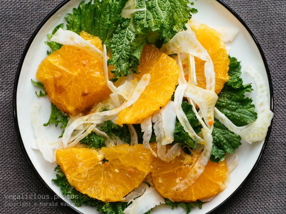 Stock photo of Fresh Mustard Greens with Fennel and Oranges
