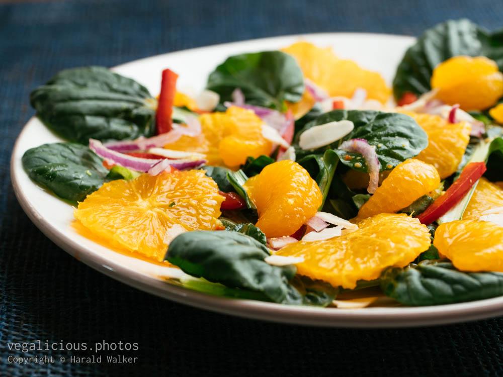 Stock photo of Tatsoi, Orange and Mandarine Salad