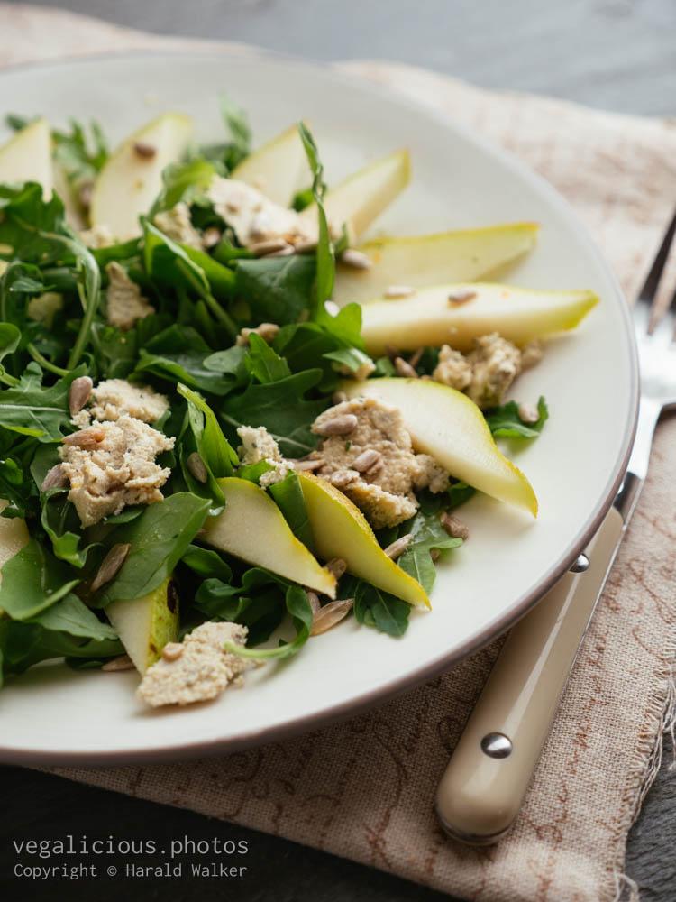 Stock photo of Pear and Arugula Salad with Vegan Feta