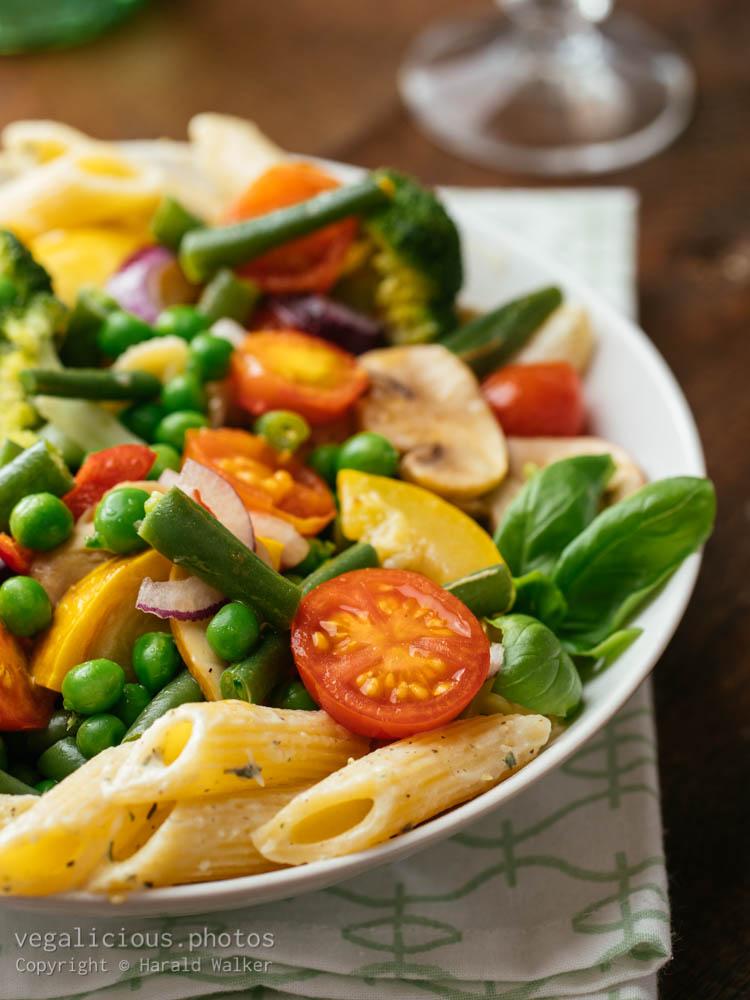 Stock photo of Creamy Vegan Pasta with Garden Vegetables