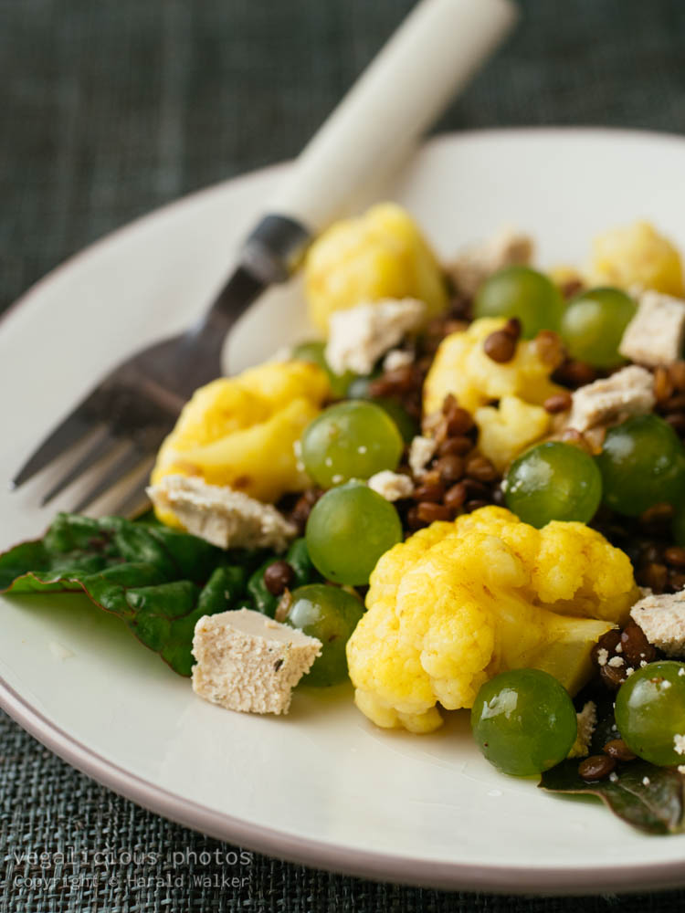 Stock photo of Lentils, Curried Cauliflower with Grapes Salad