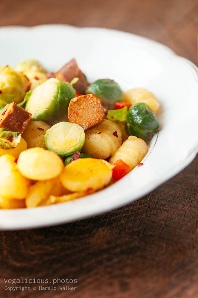 Stock photo of Gnocchi with Brussels Sprouts and Vegan Hot Dog Pieces
