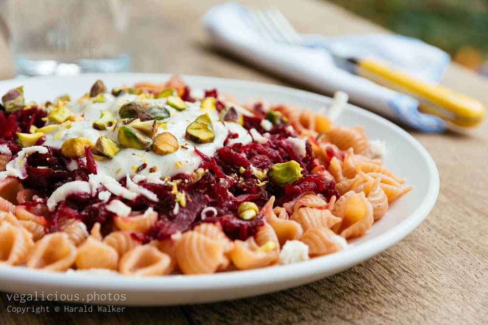 Stock photo of Red beet on pasta