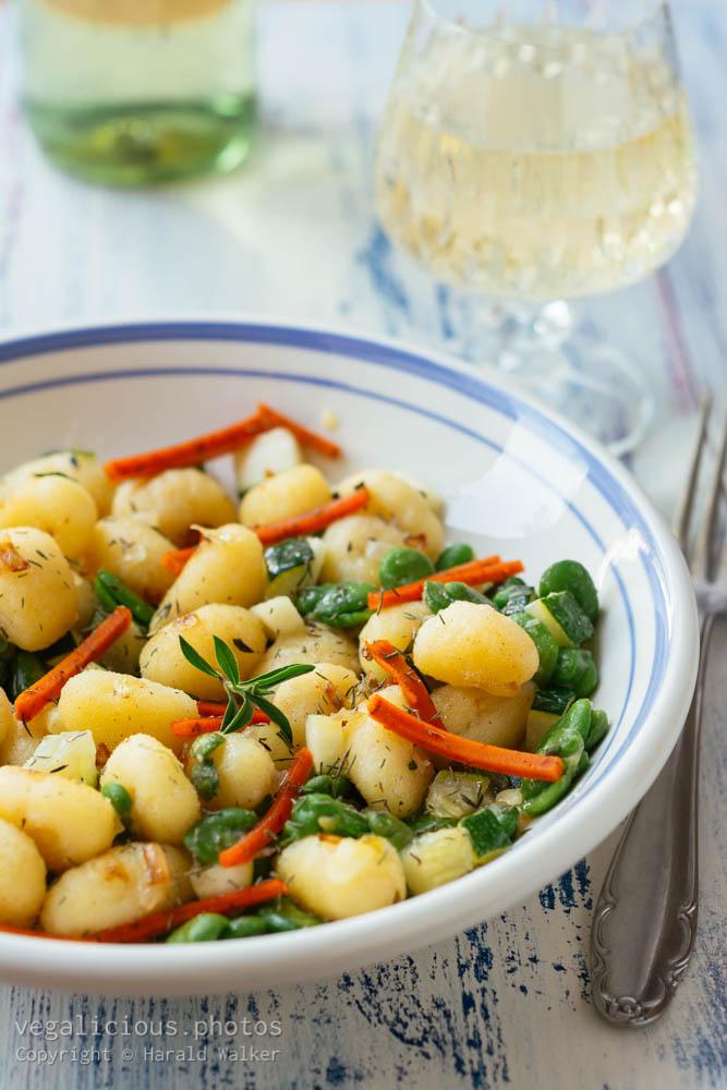Stock photo of Gnocchi with Fava Beans, Zucchini and Vegan Deli Slices