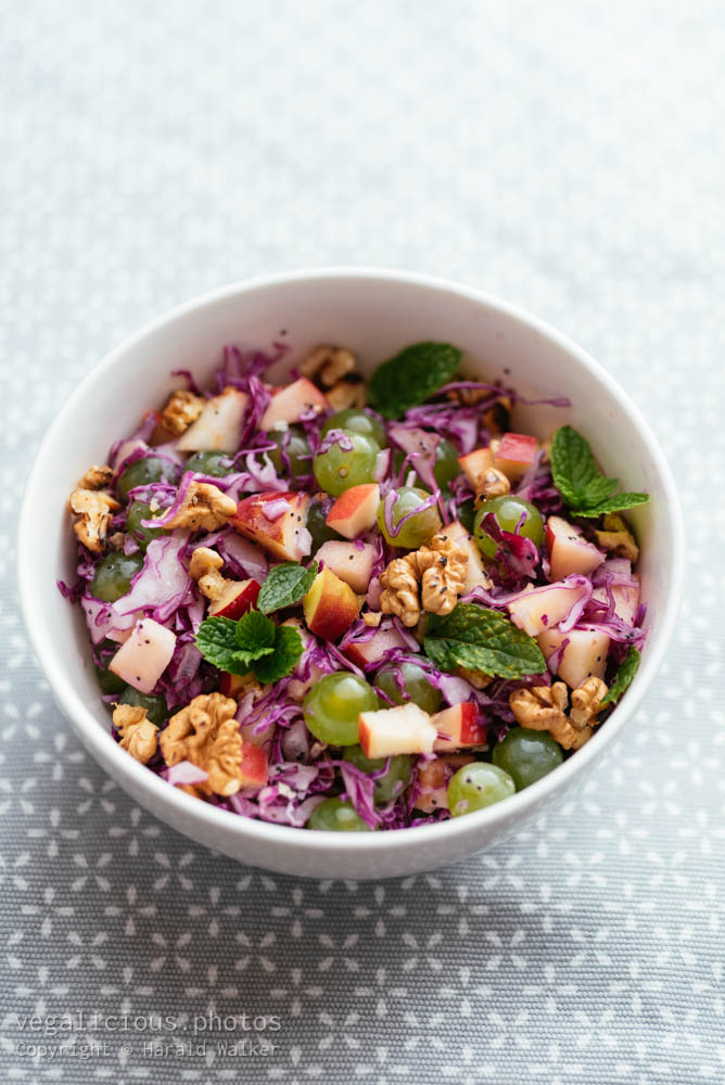 Stock photo of Red Cabbage Waldorf with Minty Poppy-seed Dressing