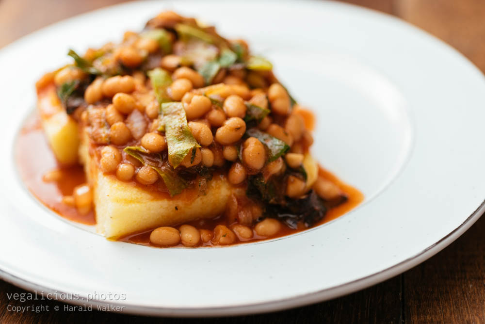 Stock photo of Swiss Chard and Beans on Polenta