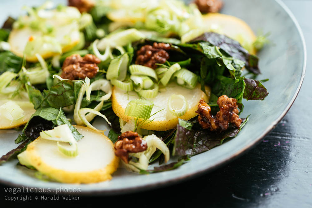 Stock photo of Mustard Greens with Marinated Fennel and Pears