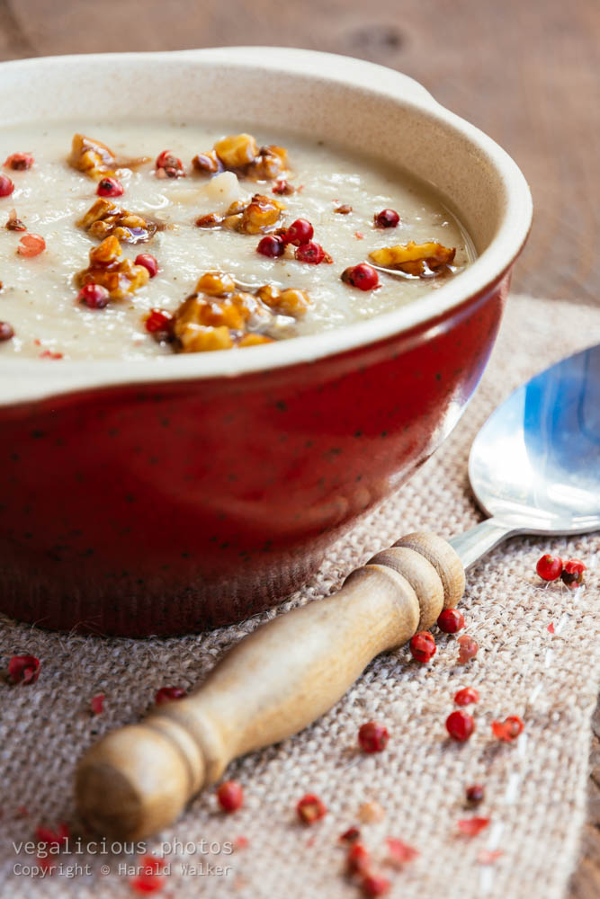 Stock photo of Roasted parsnip pear soup