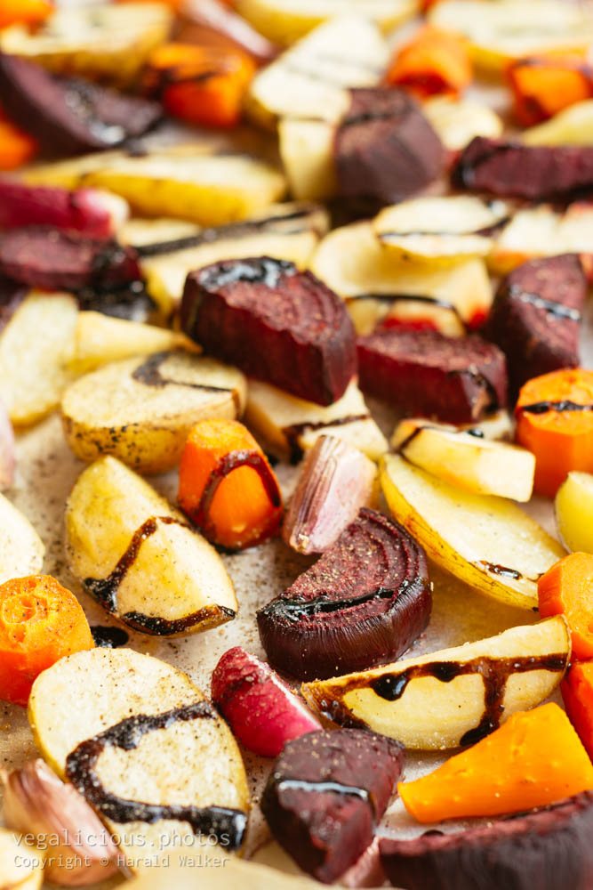 Stock photo of Roasted Root Vegetables with Balsmic Vinegar