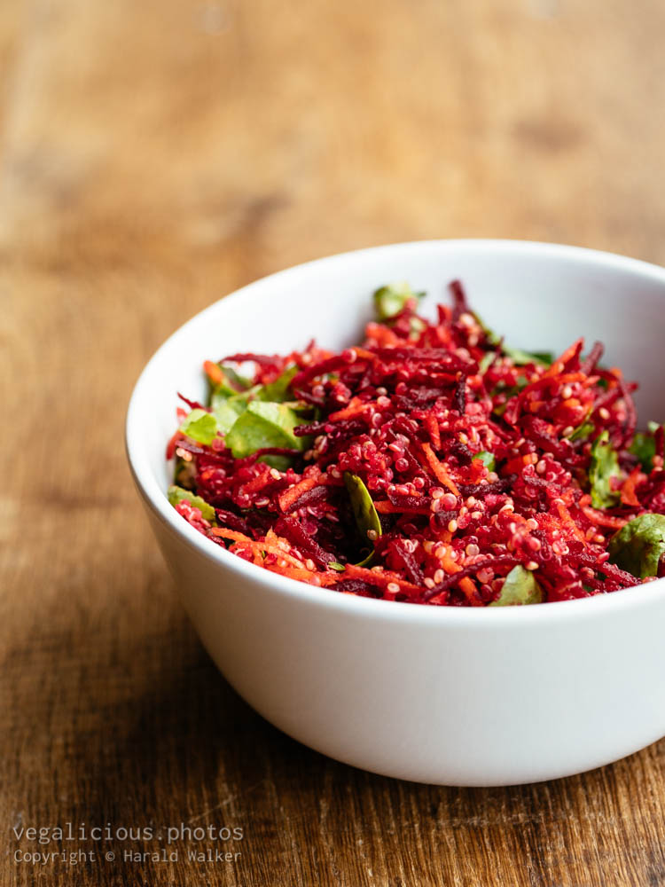 Stock photo of Quinoa, Beet, Carrot, Spinach Salad