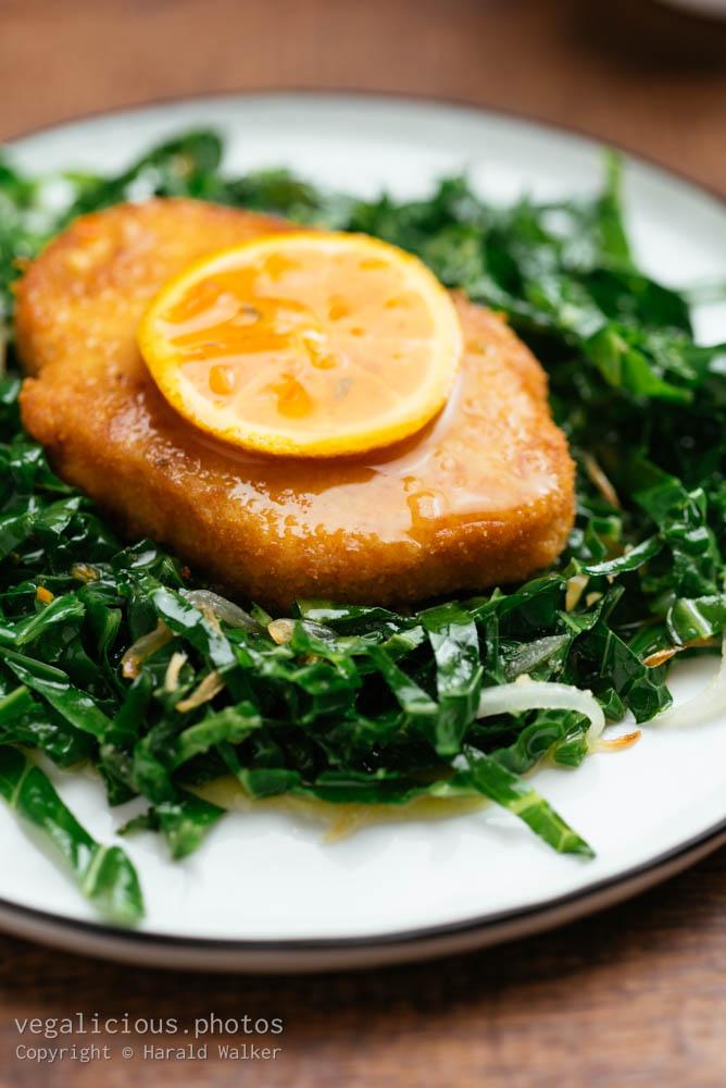 Stock photo of Vegan Schnitzel on Sauteed Savoy Cabbage