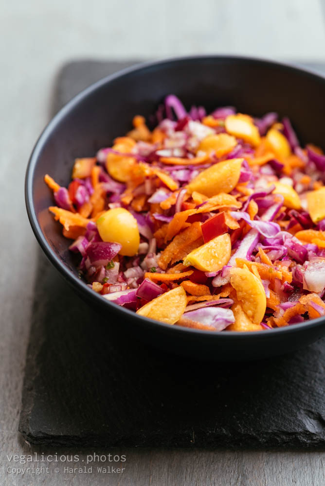 Stock photo of Red Cabbage Coleslaw with Physalis