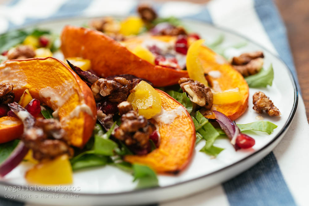 Stock photo of Fall Salad with Swiss Chard and Hokkaido Squash
