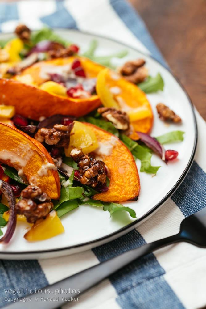 Stock photo of Fall Salad with Swiss Chard and Hokkaido Squash