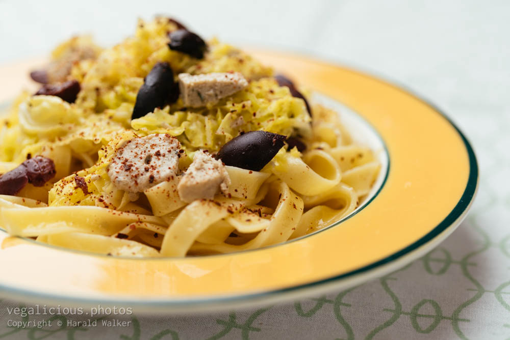 Stock photo of Pasta with Savoy Cabbage, Olives and Vegan Feta