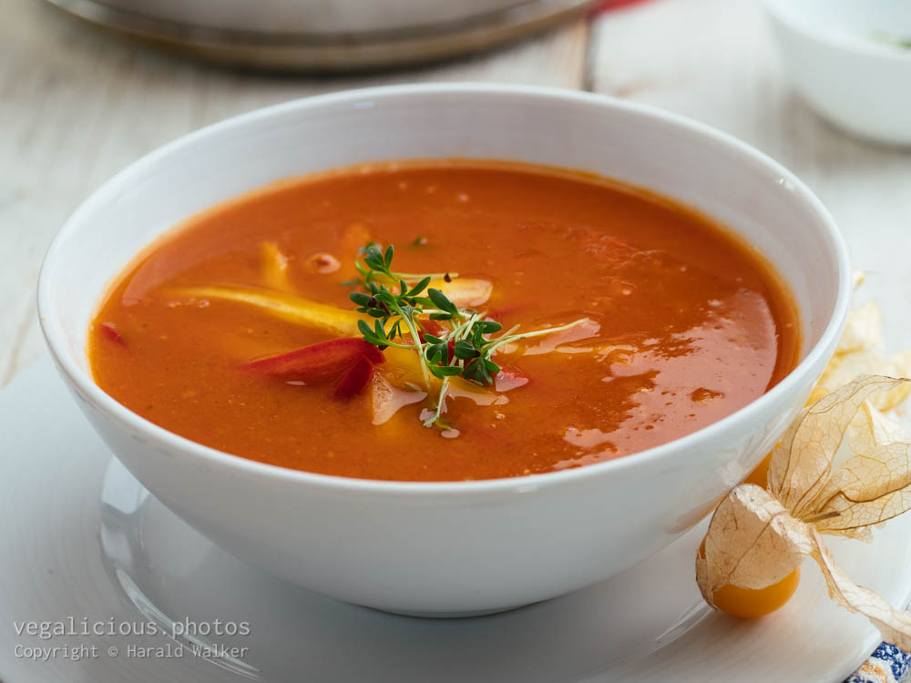 Stock photo of Roasted Tomato Physalis Soup
