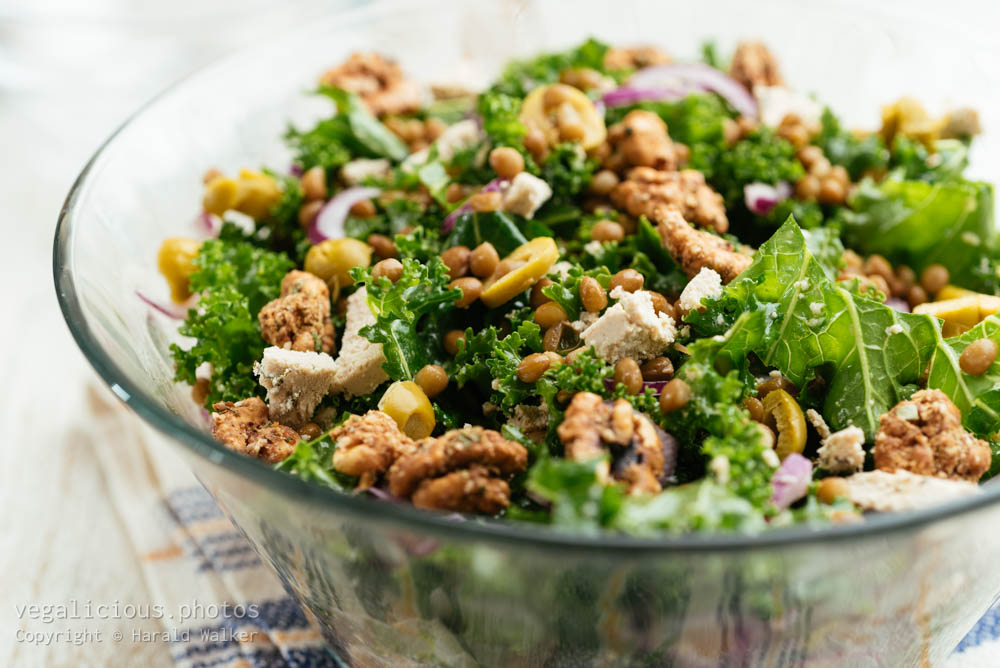 Stock photo of Mediterranean Kale and Lentil Salad with Olives and Vegan Feta