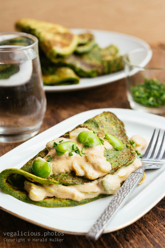 Stock photo of Spinach pancakes with fava beans