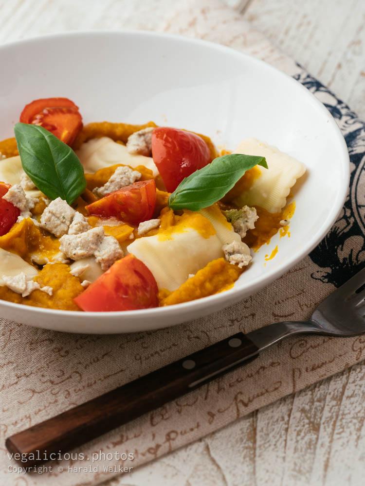 Stock photo of Ravioli with Vegan Cheesey Pumpkin Sauce