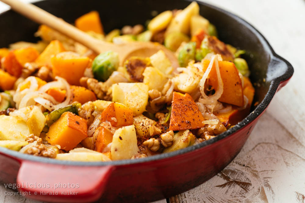 Stock photo of Pan Roasted Brussels sprouts, Parsnips, Winter Squash