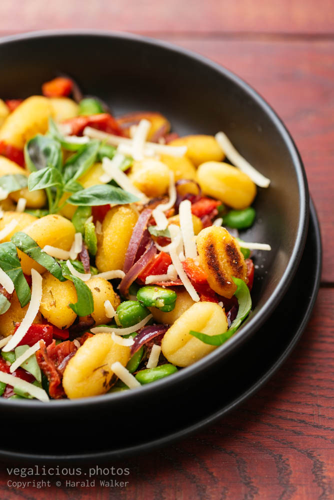Stock photo of Gnocchi with Fava Beans, Sundried Tomatoes and Sweet Bell Pepper