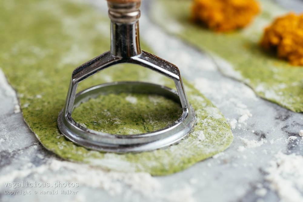 Stock photo of Making spinach ravioli