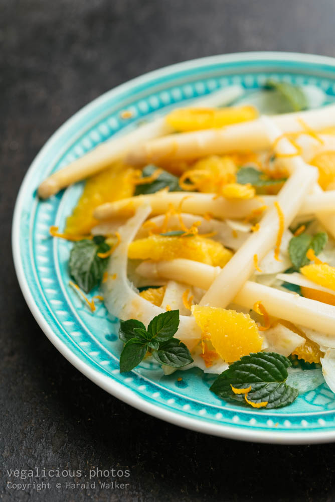 Stock photo of Asparagus, Fennel, Orange Salad with Mint