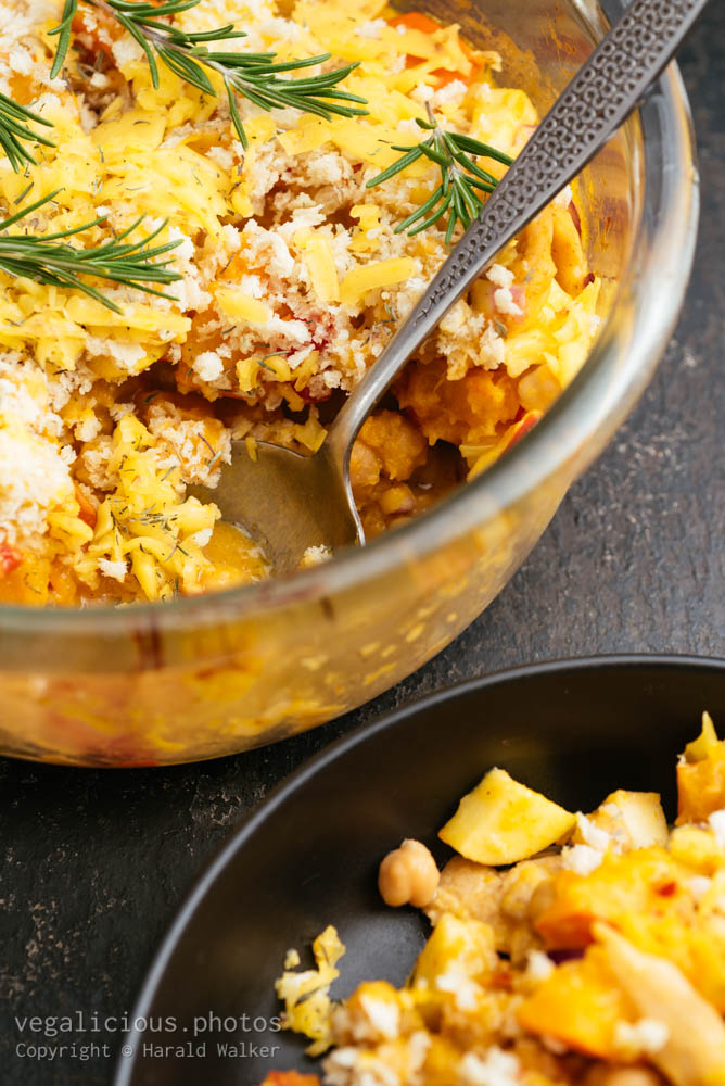 Stock photo of Vegan Winter Casserole with Apples, Winter Squash and Chickun