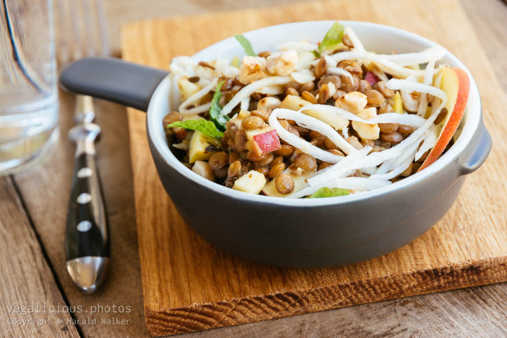 Stock photo of Warm Lentil Salad with Celery Root, Apples and Hazelnuts