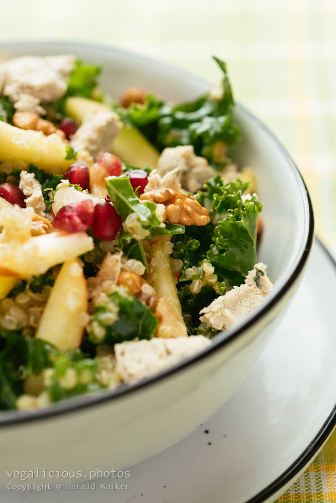 Stock photo of Kale Salad with Apples, Walnuts and Pomegranates