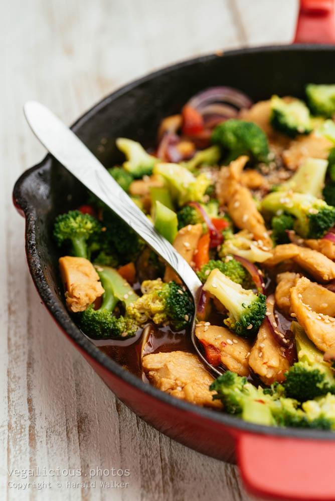 Stock photo of Broccoli, Vegan Chickun Stir-fry