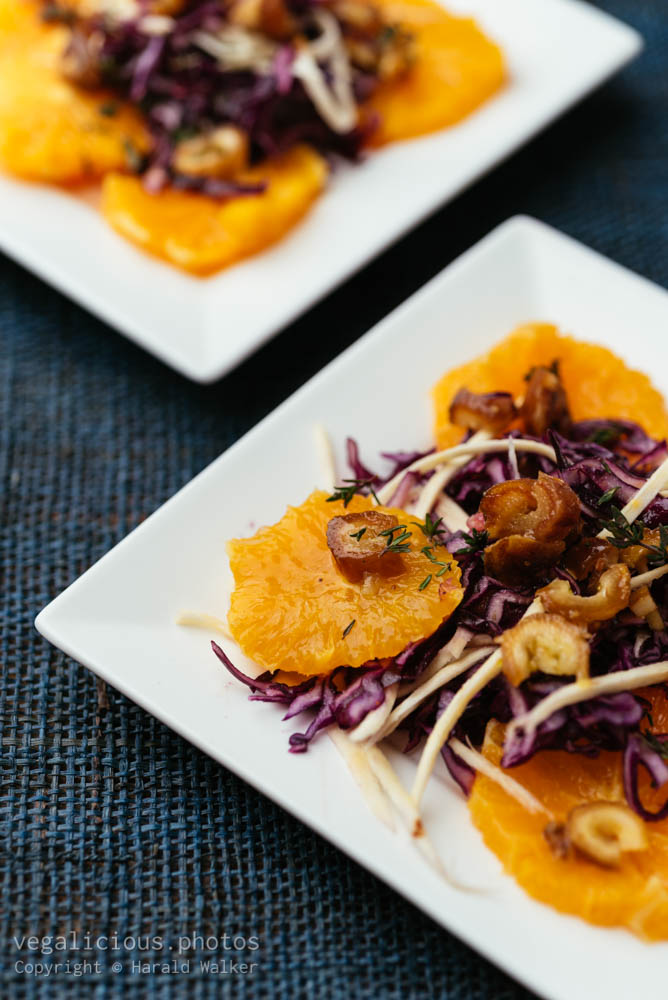 Stock photo of Red Cabbage, Parsnip with Oranges and Dates