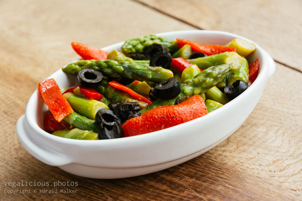 Stock photo of Roasted Pepper, Asparagus marinated in a Raspberries and Cilantro Vinaigrette
