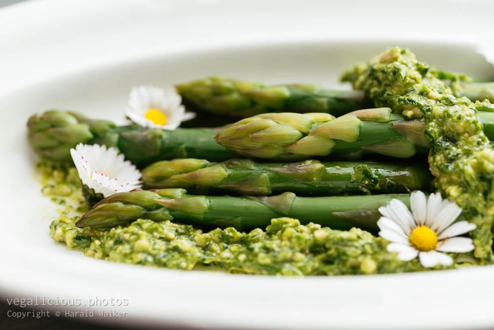 Stock photo of Asparagus with Wild Garlic Pesto