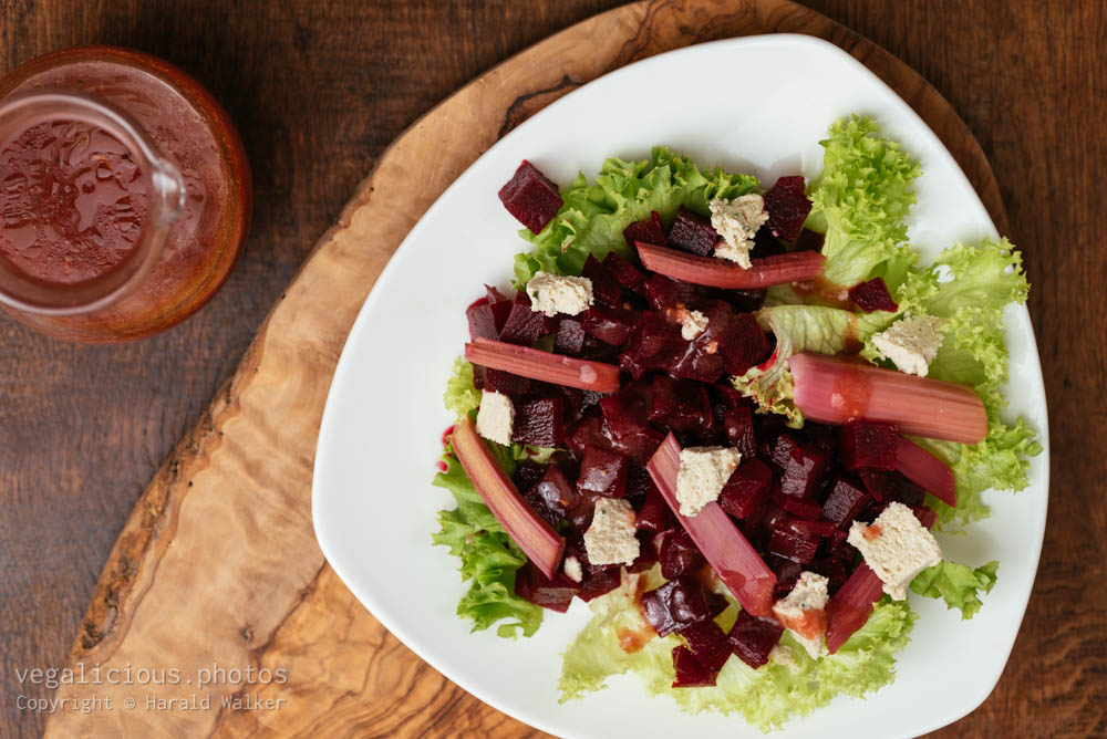 Stock photo of Rhubarb and Beet Salad with Rhubarb Vinaigrette