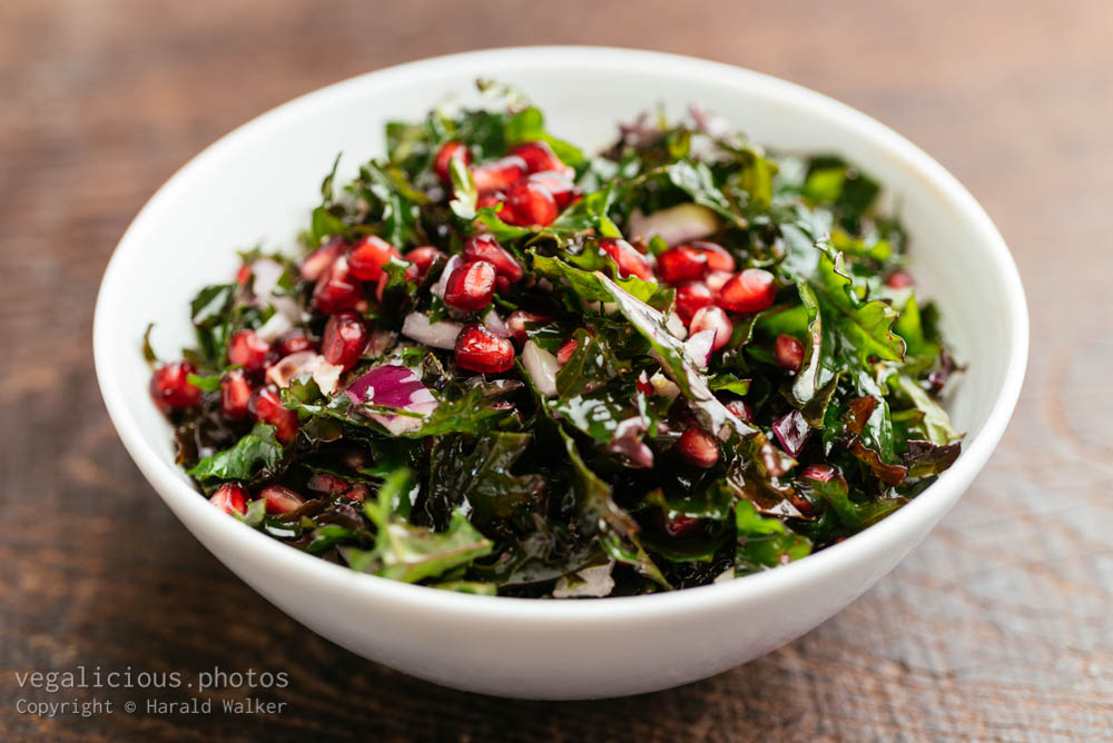 Stock photo of Red Russian Kale with Pomegranates