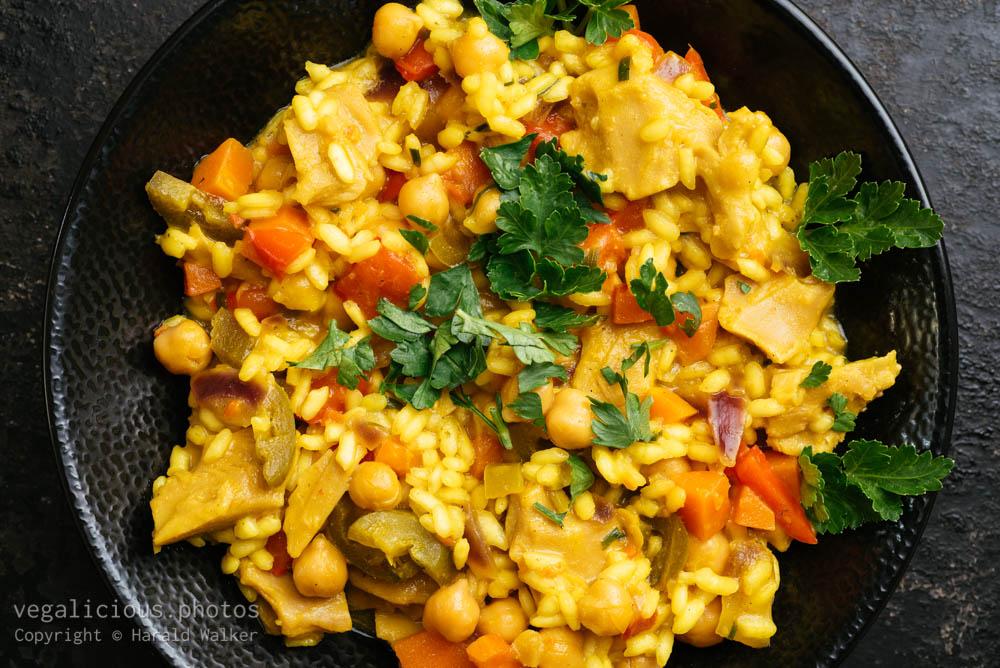 Stock photo of Vegan Chickun and Yellow Rice