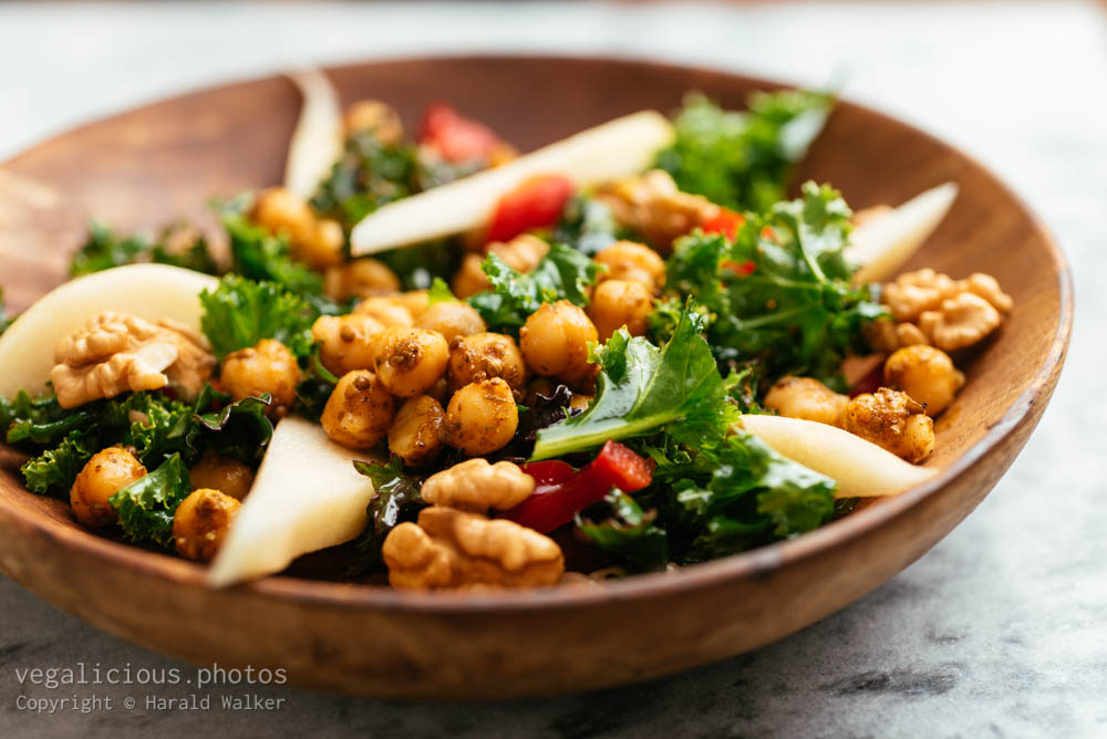 Stock photo of Spicy Kale Salad with Pears and Walnuts