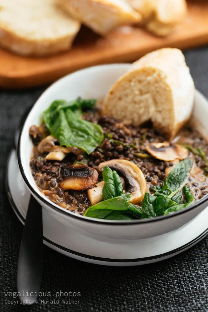Stock photo of Creamy Mushroom and Black Lentil Stew