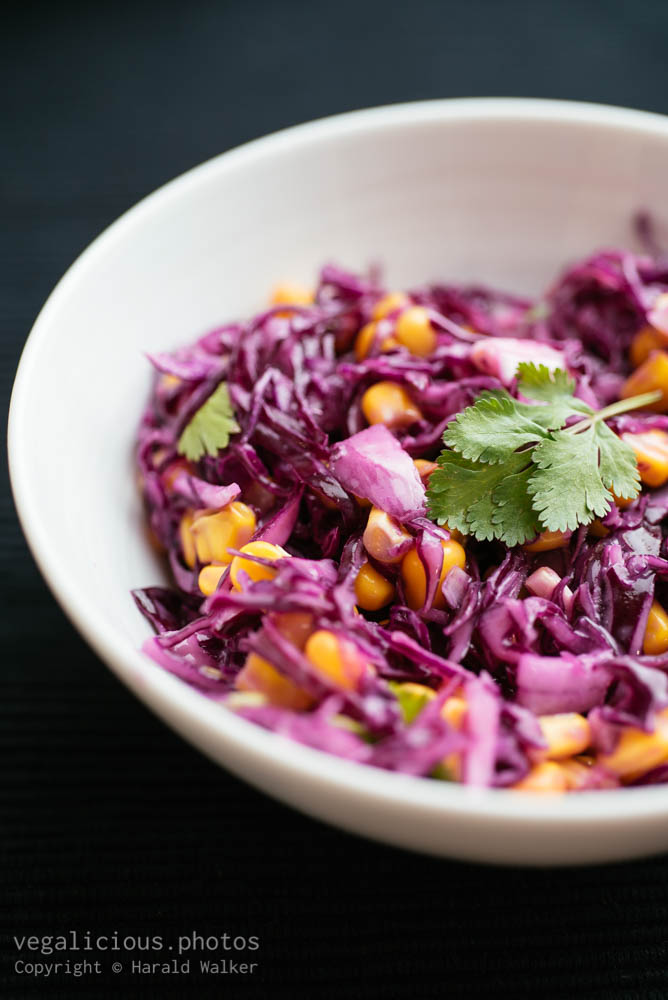 Stock photo of Red Cabbage Slaw with Corn and Coriander