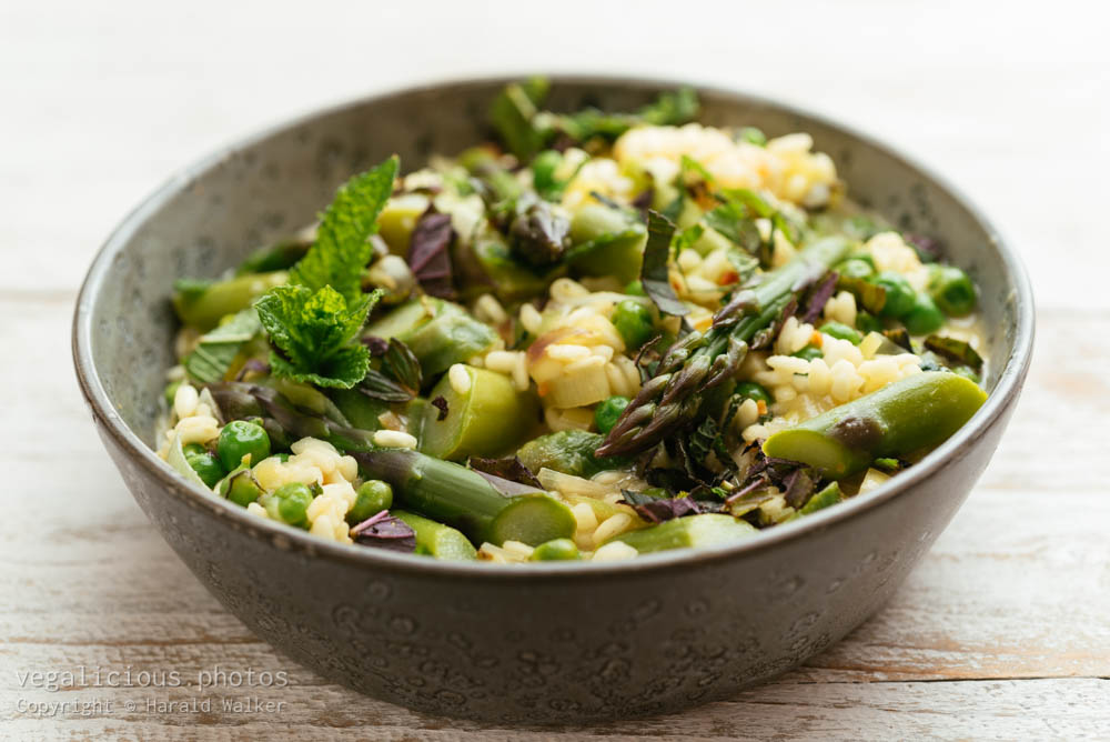 Stock photo of Spring Risotto with Asparagus, Peas, Lemon and Mint