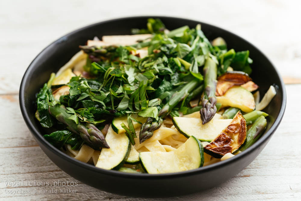 Stock photo of Tagliatelle with Asparagus, Zucchini and Spinach