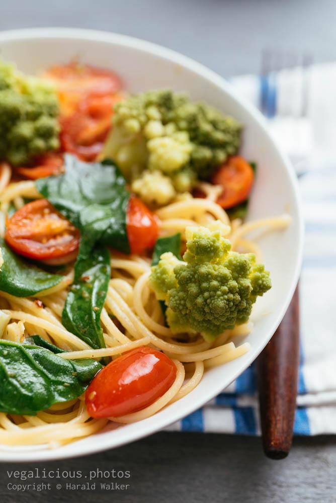 Stock photo of Spaghetti with Romanesco Broccoli and Spinach