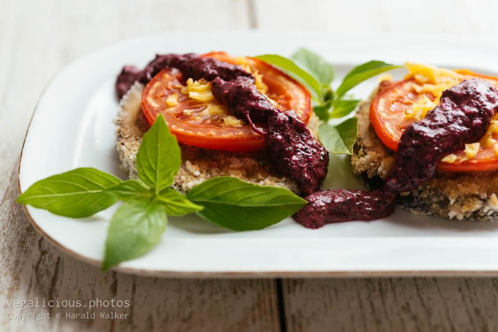Stock photo of Breaded Eggplant Stacks with Amaranth Pesto