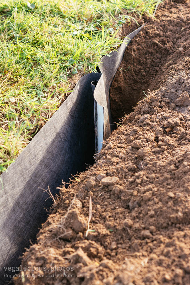 Stock photo of Installing root barrier
