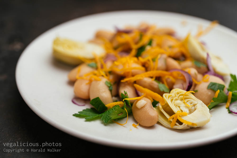Stock photo of Great Northern Beans Salad with Artichoke and Orange dressing