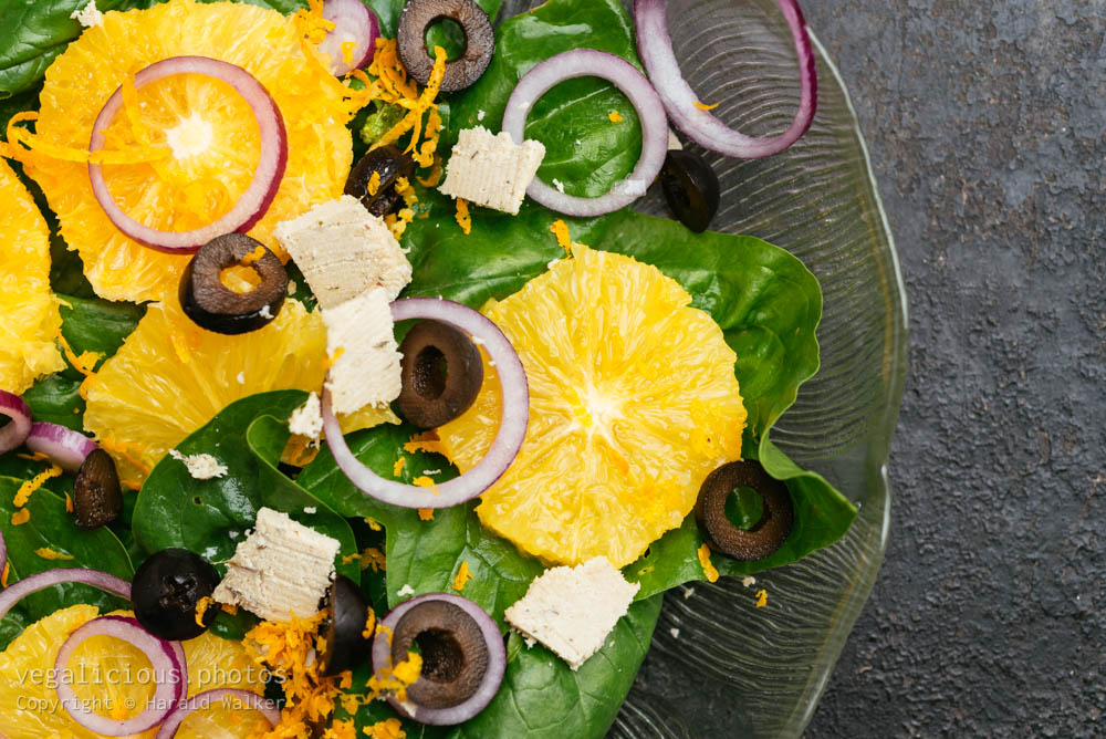 Stock photo of Spinach Salad with Oranges, Black Olives, and Red Onions